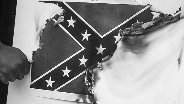 Confederate flag burning